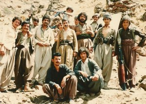 Dr Jawad Mella in middle surrounded by his bodyguards in Kurdistan
